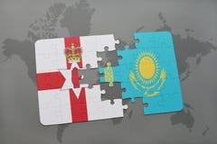 困惑与北爱尔兰和哈萨克斯坦国旗世界地图背景的 皇族释放例证