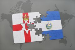 困惑与北爱尔兰和萨尔瓦多的国旗世界地图的 免版税库存照片