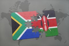 困惑与南非和肯尼亚的国旗世界地图的 库存例证