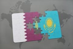 困惑与卡塔尔和哈萨克斯坦国旗世界地图背景的 皇族释放例证