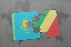困惑与哈萨克斯坦和刚果共和国的国旗世界地图的 免版税库存照片