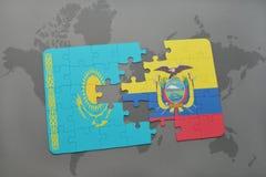 困惑与哈萨克斯坦和厄瓜多尔的国旗世界地图的 向量例证