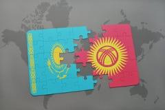 困惑与哈萨克斯坦和吉尔吉斯斯坦的国旗世界地图的 皇族释放例证