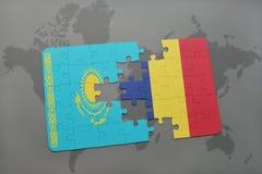 困惑与哈萨克斯坦和孔屑国旗在世界地图 免版税图库摄影