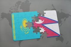 困惑与哈萨克斯坦和尼泊尔的国旗世界地图的 库存例证