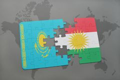 困惑与哈萨克斯坦和库尔德斯坦的国旗世界地图的 库存例证