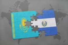 困惑与哈萨克斯坦和萨尔瓦多的国旗世界地图的 向量例证