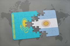 困惑与哈萨克斯坦和阿根廷的国旗世界地图的 免版税库存照片