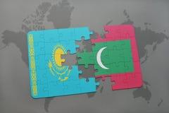困惑与哈萨克斯坦和马尔代夫的国旗世界地图的 库存例证