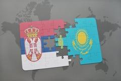 困惑与塞尔维亚和哈萨克斯坦国旗世界地图背景的 皇族释放例证