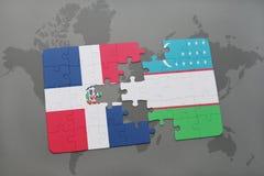 困惑与多米尼加共和国和乌兹别克斯坦国旗世界地图的 免版税图库摄影