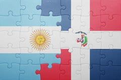 困惑与多米尼加共和国和阿根廷的国旗 库存照片