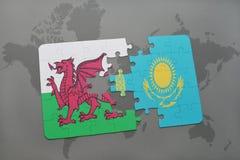 困惑与威尔士和哈萨克斯坦国旗世界地图背景的 向量例证