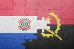 困惑与安哥拉和巴拉圭的国旗 免版税库存照片