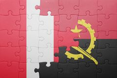 困惑与安哥拉和秘鲁的国旗 免版税库存图片