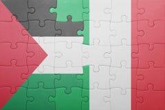 困惑与意大利和巴勒斯坦的国旗 免版税图库摄影