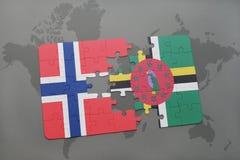 困惑与挪威和多米尼加的国旗世界地图的 库存图片