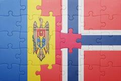 困惑与挪威和摩尔多瓦国旗  免版税库存照片