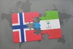 困惑与挪威和赤道几内亚国旗在世界地图 免版税库存图片