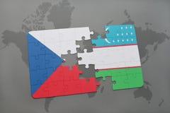 困惑与捷克共和国和乌兹别克斯坦国旗世界地图的 免版税库存图片