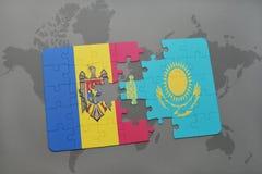 困惑与摩尔多瓦和哈萨克斯坦国旗世界地图背景的 库存例证