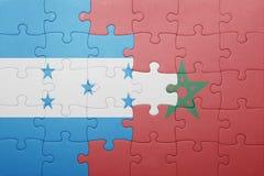 困惑与摩洛哥和洪都拉斯的国旗 免版税库存图片