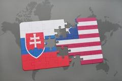 困惑与斯洛伐克和利比里亚的国旗世界地图的 免版税图库摄影