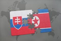 困惑与斯洛伐克和北朝鲜的国旗世界地图的 库存照片