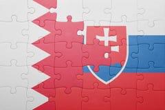 困惑与斯洛伐克和巴林的国旗 库存照片