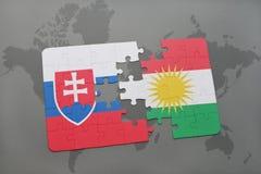 困惑与斯洛伐克和库尔德斯坦的国旗世界地图的 库存图片