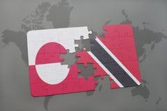 困惑与格陵兰和特立尼达和多巴哥的国旗世界地图背景的 皇族释放例证