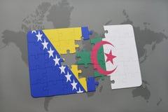 困惑与波斯尼亚黑塞哥维那和阿尔及利亚的国旗世界地图的 皇族释放例证
