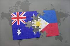 困惑与澳大利亚和菲律宾国旗世界地图背景的 向量例证