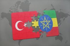 困惑与火鸡和埃塞俄比亚的国旗世界地图的 库存例证