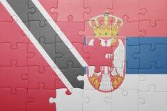 困惑与特立尼达和多巴哥和塞尔维亚的国旗 概念 库存图片