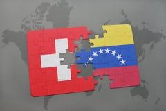 困惑与瑞士和委内瑞拉的国旗世界地图背景的 向量例证