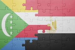 困惑与科摩罗和埃及的国旗 图库摄影