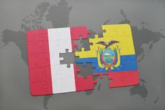 困惑与秘鲁和厄瓜多尔的国旗世界地图背景的 皇族释放例证