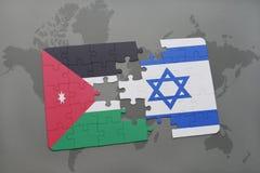 困惑与约旦和以色列的国旗世界地图背景的 图库摄影