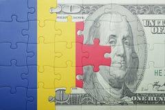 困惑与罗马尼亚和美元钞票国旗  皇族释放例证