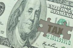 困惑与美元钞票和文本税 库存照片