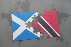 困惑与苏格兰和特立尼达和多巴哥的国旗世界地图的 向量例证