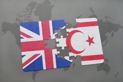 困惑与英国和北塞浦路斯的国旗世界地图背景的 图库摄影