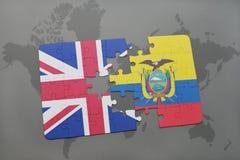 困惑与英国和厄瓜多尔的国旗世界地图背景的 库存图片