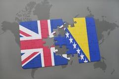 困惑与英国和波斯尼亚黑塞哥维那的国旗世界地图背景的 库存图片