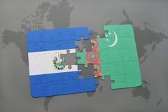 困惑与萨尔瓦多和土库曼斯坦国旗世界地图的 皇族释放例证