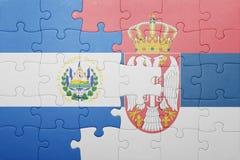 困惑与萨尔瓦多和塞尔维亚的国旗 概念 图库摄影
