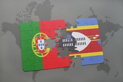 困惑与葡萄牙和斯威士兰的国旗世界地图背景的 库存照片