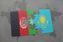 困惑与阿富汗和哈萨克斯坦国旗世界地图背景的 向量例证