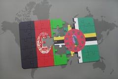 困惑与阿富汗和多米尼加的国旗世界地图背景的 免版税库存照片